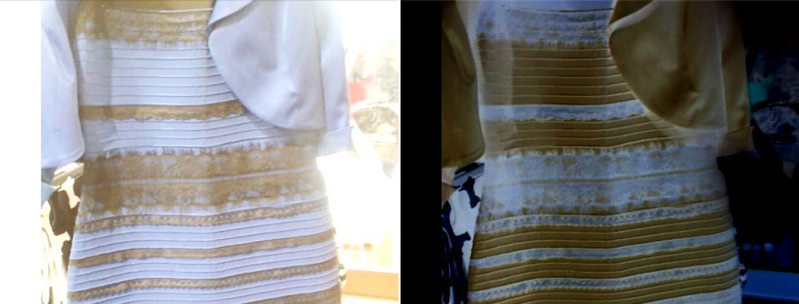 Почему платье видят белое