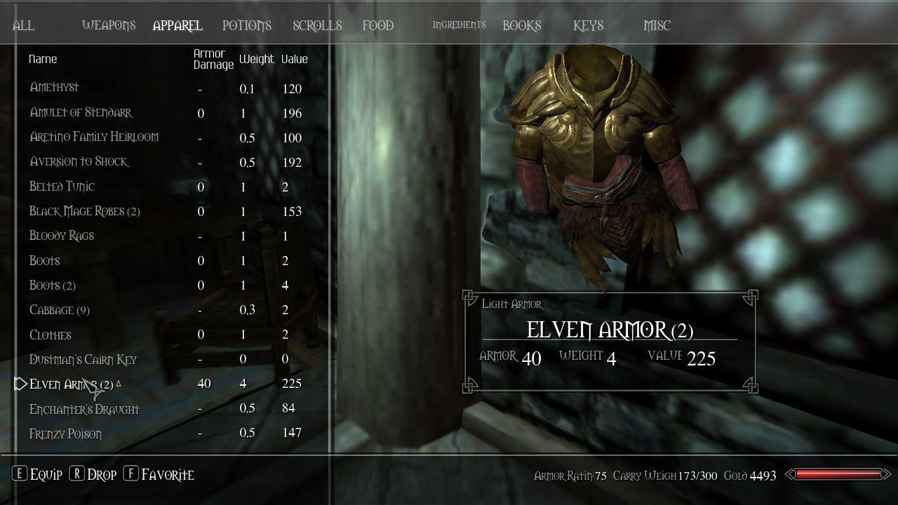 Скачать мод для Skyrim на Инвентарь