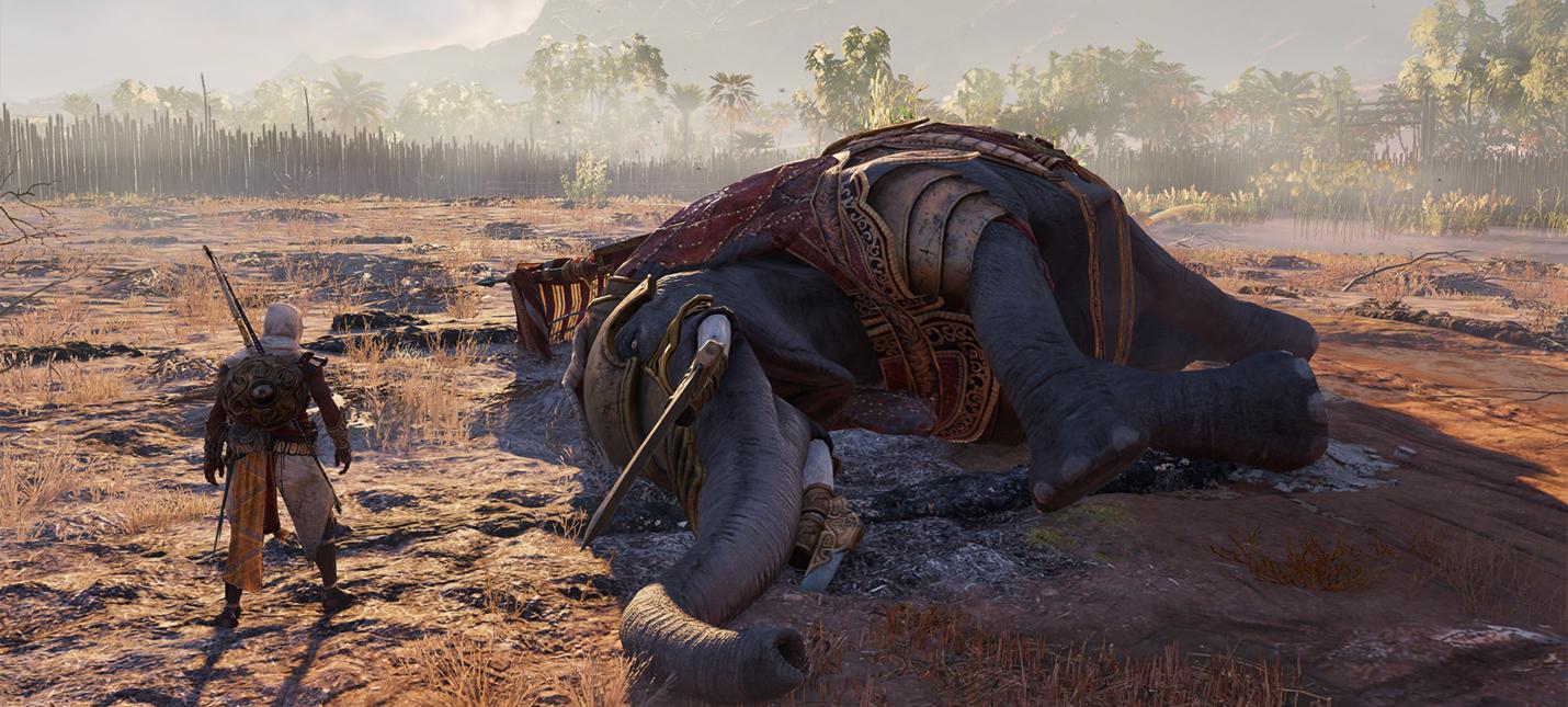 Геймер Assassin's Creed Origins попытался одолеть слона голыми руками