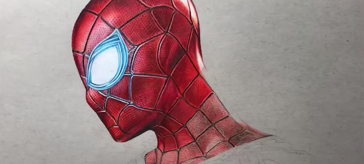 """Фотореалистичный железный Человек-паук из """"Войны бесконечности"""" при помощи карандашей"""
