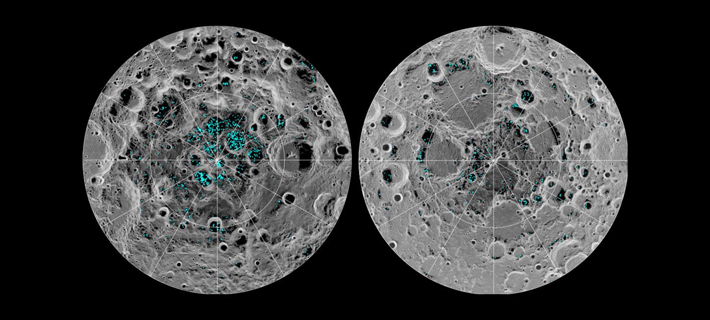 Лёд на полюсах Луны по данным орбитальных приборов