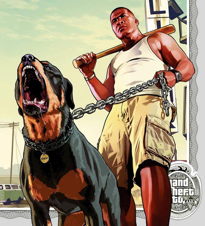 Один из героев игры - Франклин, выгуливает своего песика