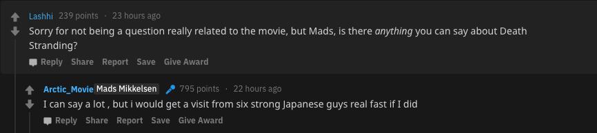 Мадс Миккельсен: Если я начну говорить о Death Stranding, ко мне придут шесть крепких японцев