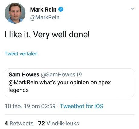 Вице-президент Epic похвалил Apex Legends в твиттере, но удалил свой пост