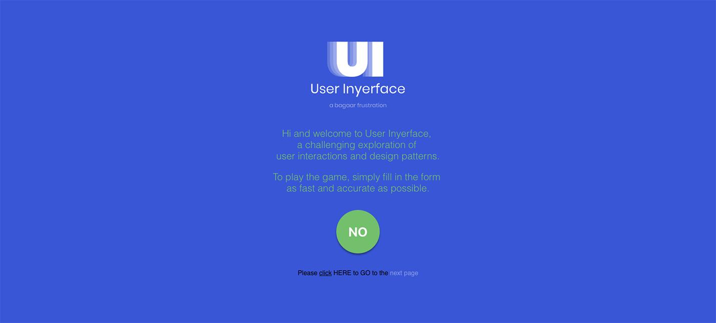 Сайт User Inyerface учит плохому веб-дизайну на примерах