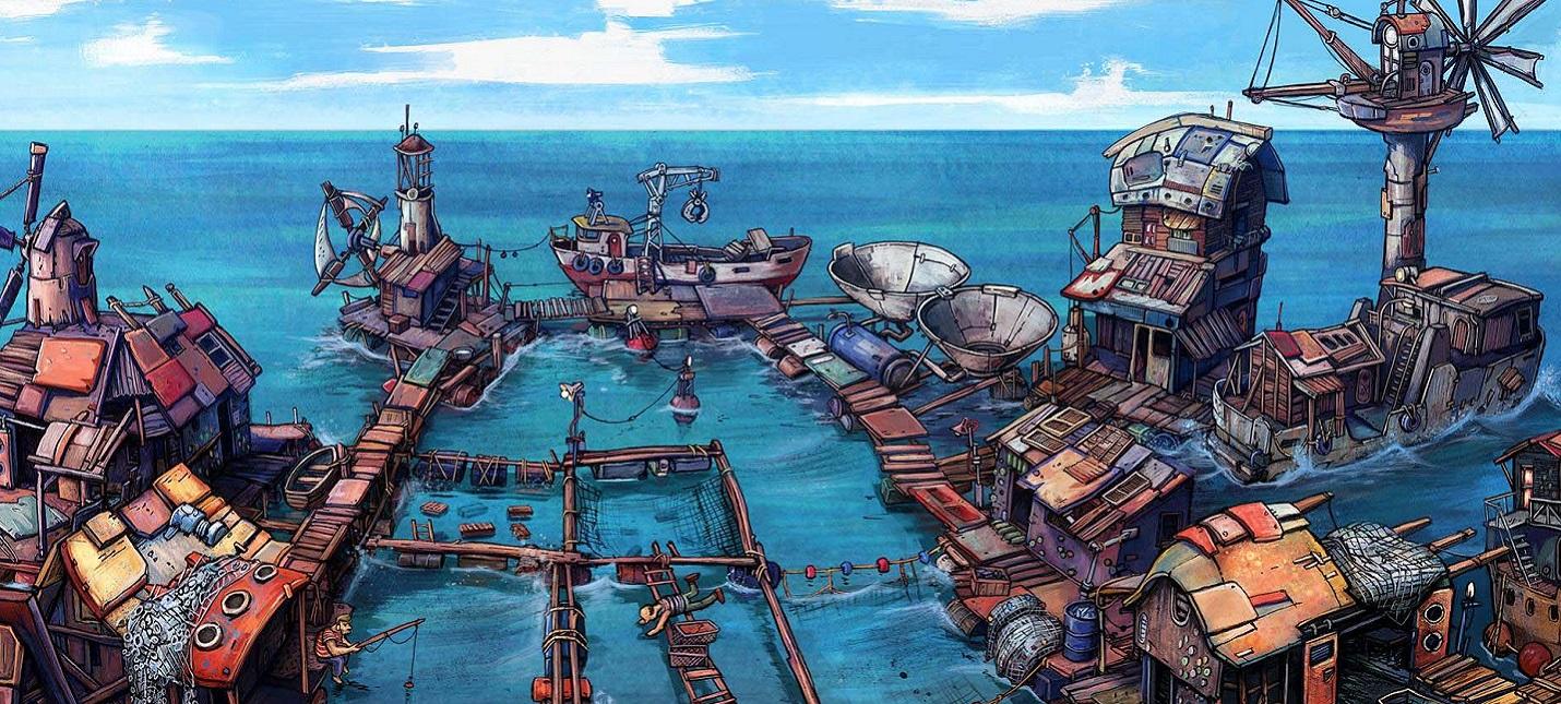Строительство постапокалиптического поселения на воде в геймплее Flotsam