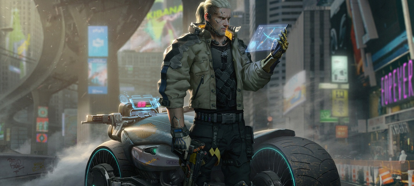 Художник детально перенес Геральта из The Witcher 3 в мир Cyberpunk 2077