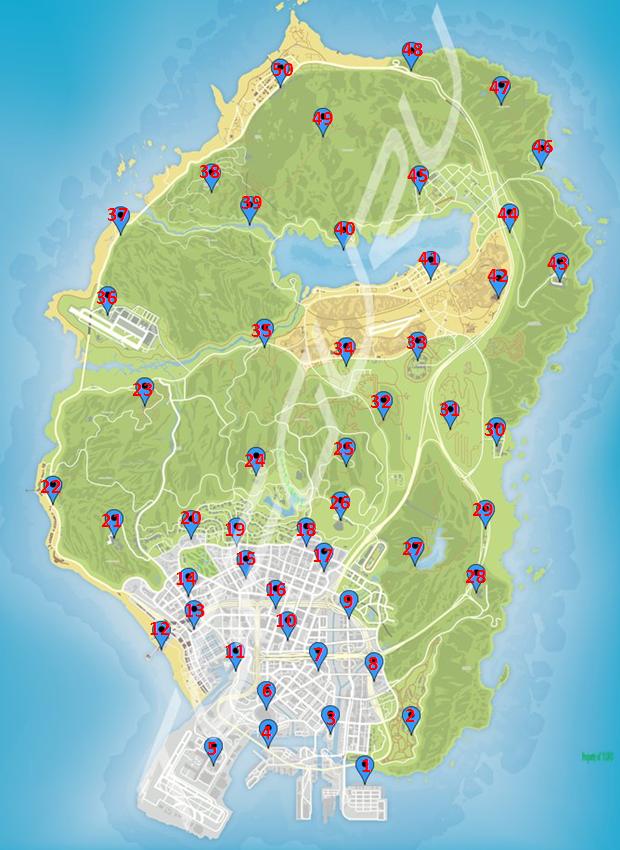 Геймер собрал карту всех глушилок в GTA Online из апдейта Casino Heist
