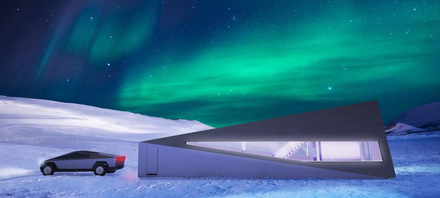 Дизайнер разработал специальный гараж для Cybertruck