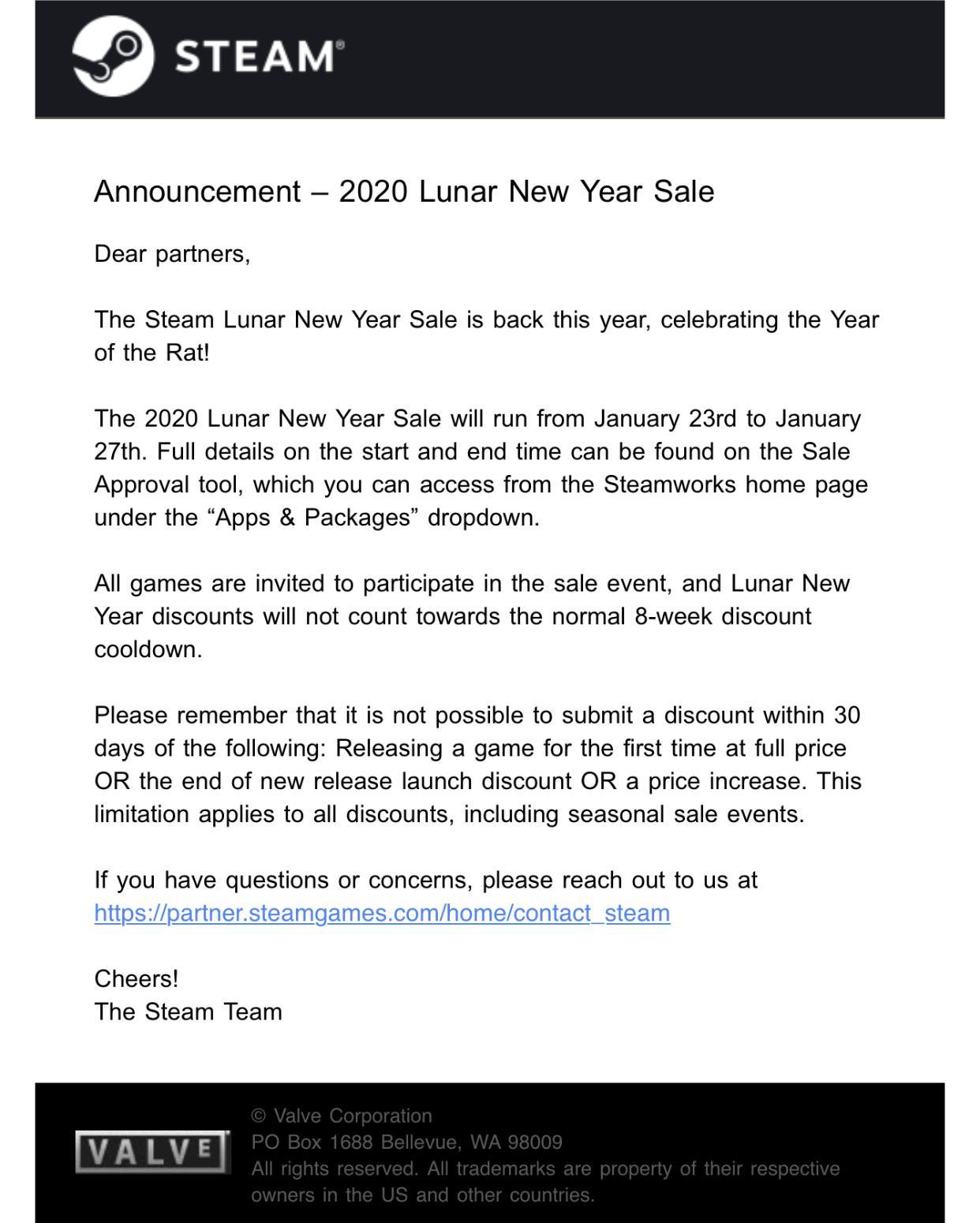 Слух: Лунная распродажа в Steam начнется 23 января