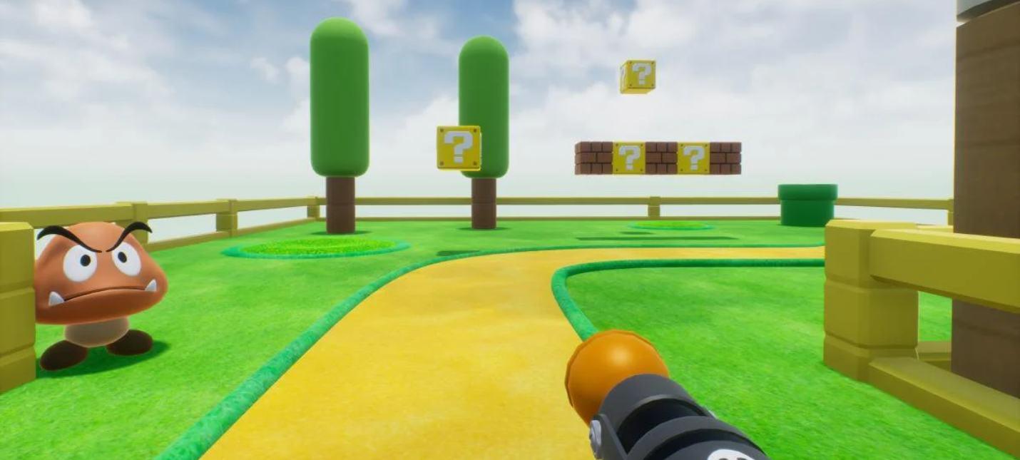 Новый геймплей фанатского ремейка Super Mario Bros. на UE4 в жанре шутера