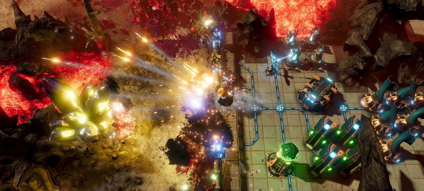 Строительство базы, сбор лута и прокачка робота в геймплее The Riftbreaker