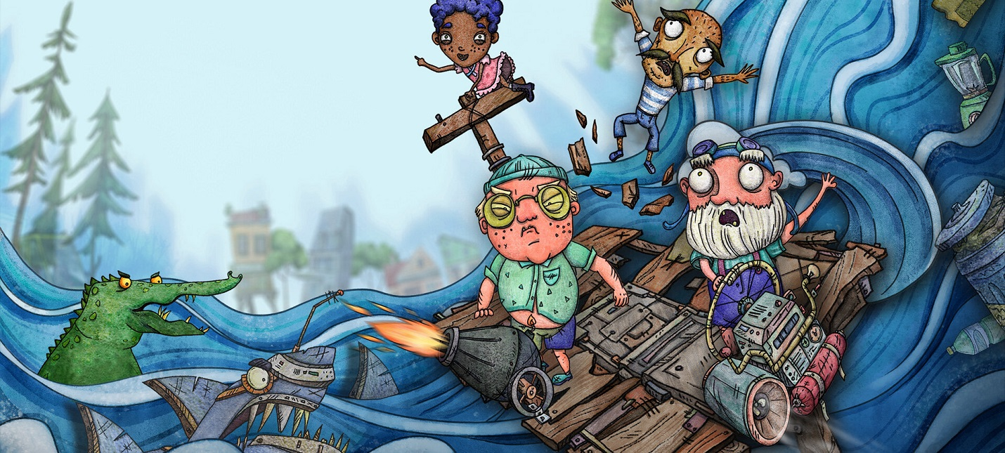 Кооперативное выживание на плоту в геймплее Trash Sailors