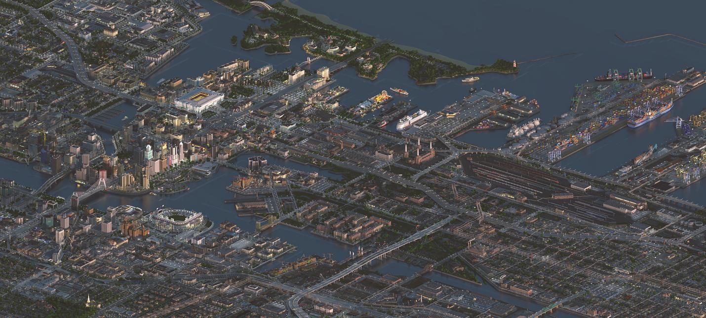 Огромный город Greenfield из Minecraft показали с высоты  похоже на SimCity