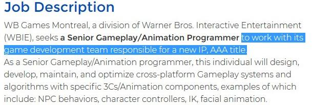 WB Montreal занимается неанонсированной AAA-игрой по новой IP