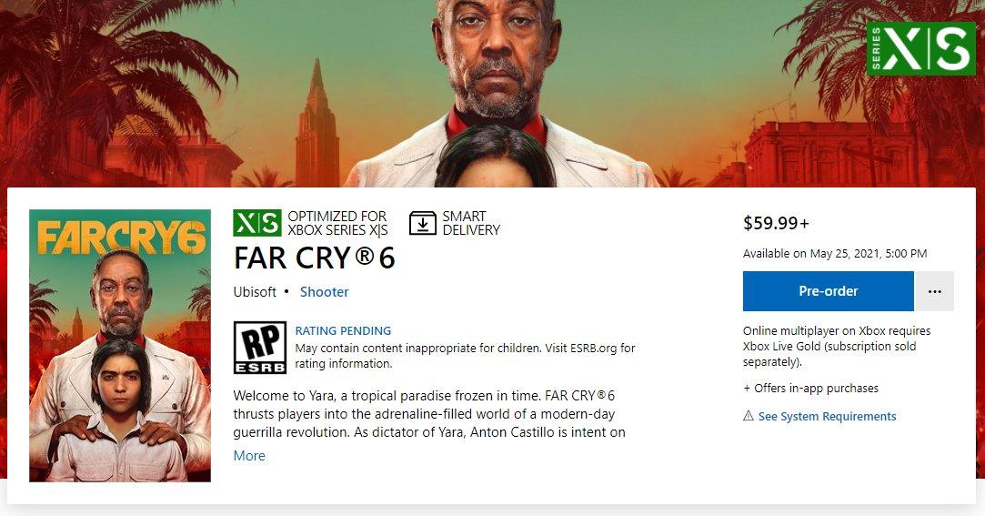 В Microsoft Store заметили новую дату релиза Far Cry 6 — 25 мая 2021 года