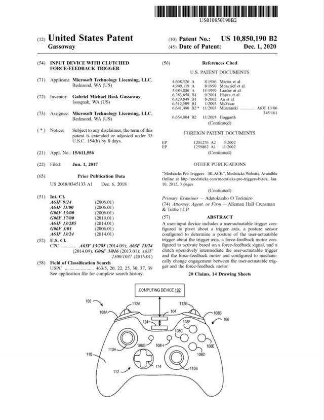 Microsoft запатентовала контроллер Xbox с отдачей