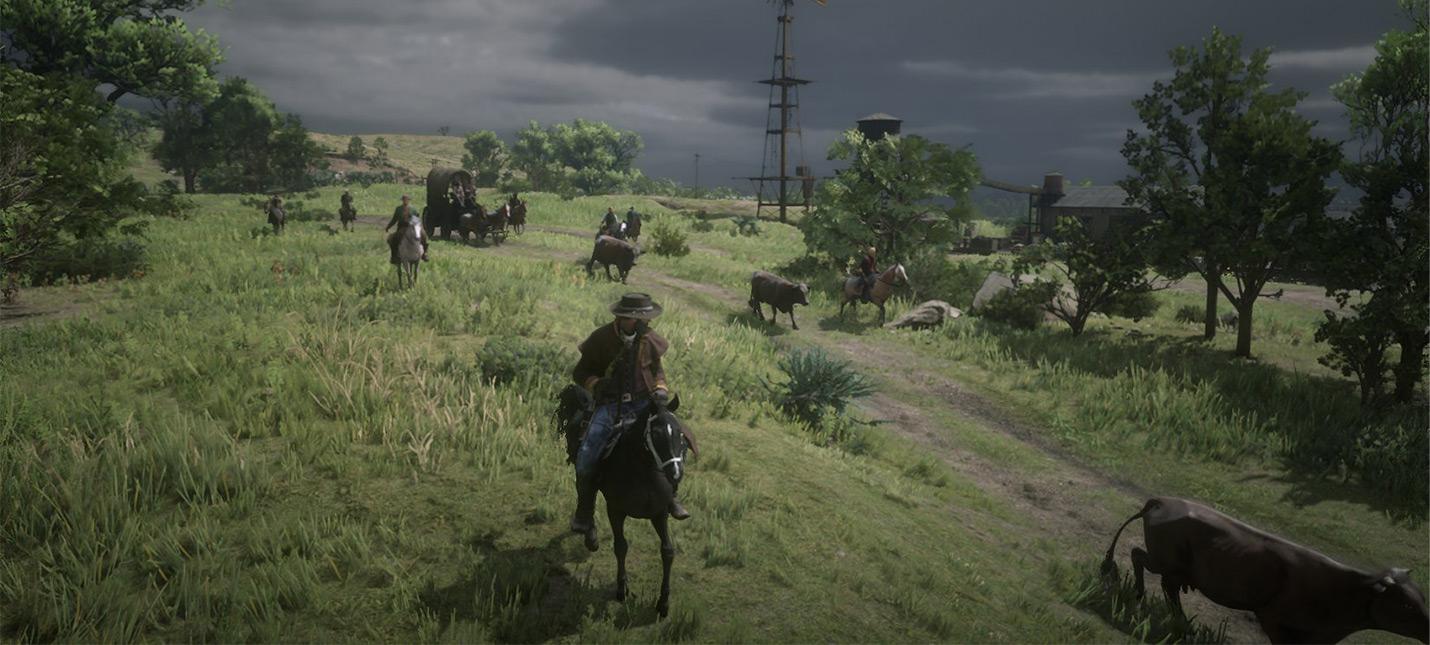 Первый успешный перегон скота в Red Dead Online  коровы не слушались и жрали пейот