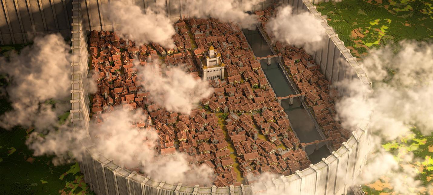 """Игроки Minecraft воссоздали город из """"Атаки Титанов"""" в масштабе 1:1"""