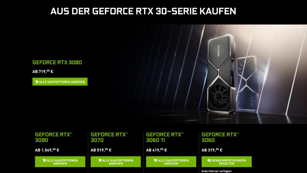 Nvidia повысила цены на видеокарты RTX 3000 Founders Edition в некоторых странах Европы