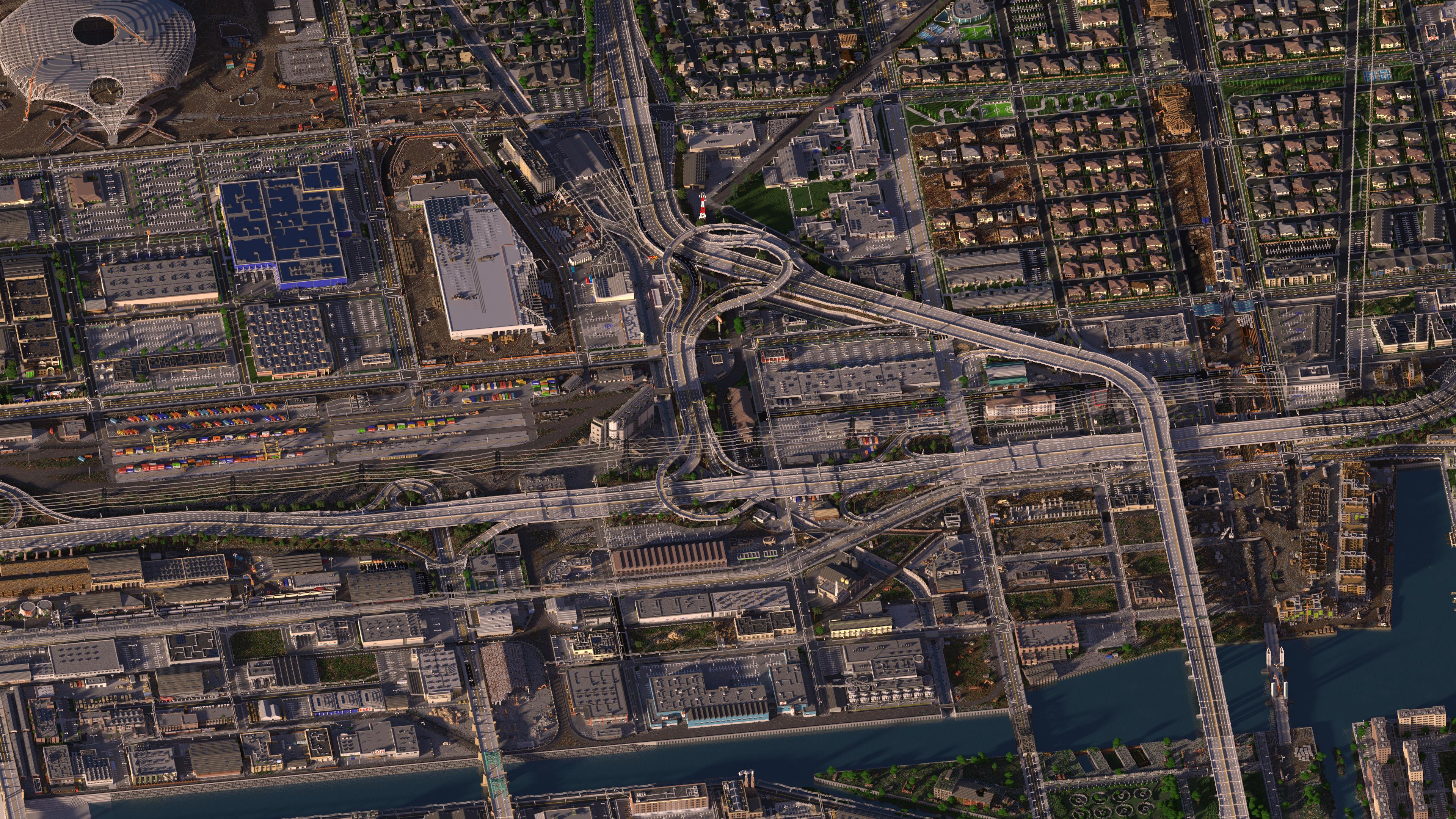Инфрастуктура самого большого города Minecraft с высоты птичьего полета