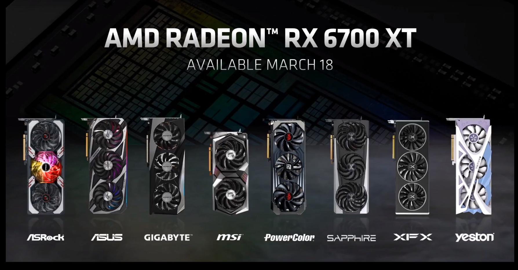 AMD анонсировала видеокарту Radeon RX 6700 XT
