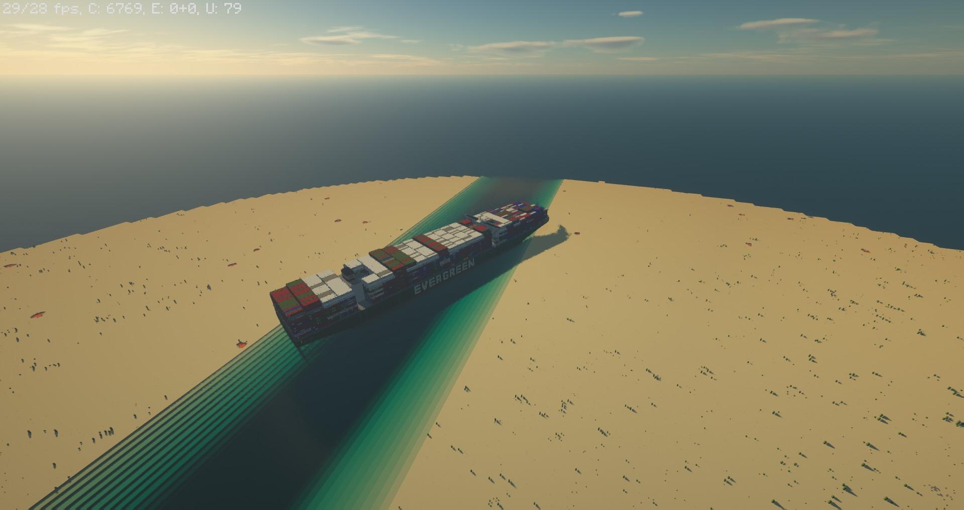 У игрока в Minecraft ушло 11 часов на создание полноразмерной копии корабля, застрявшего в Суэцком канале