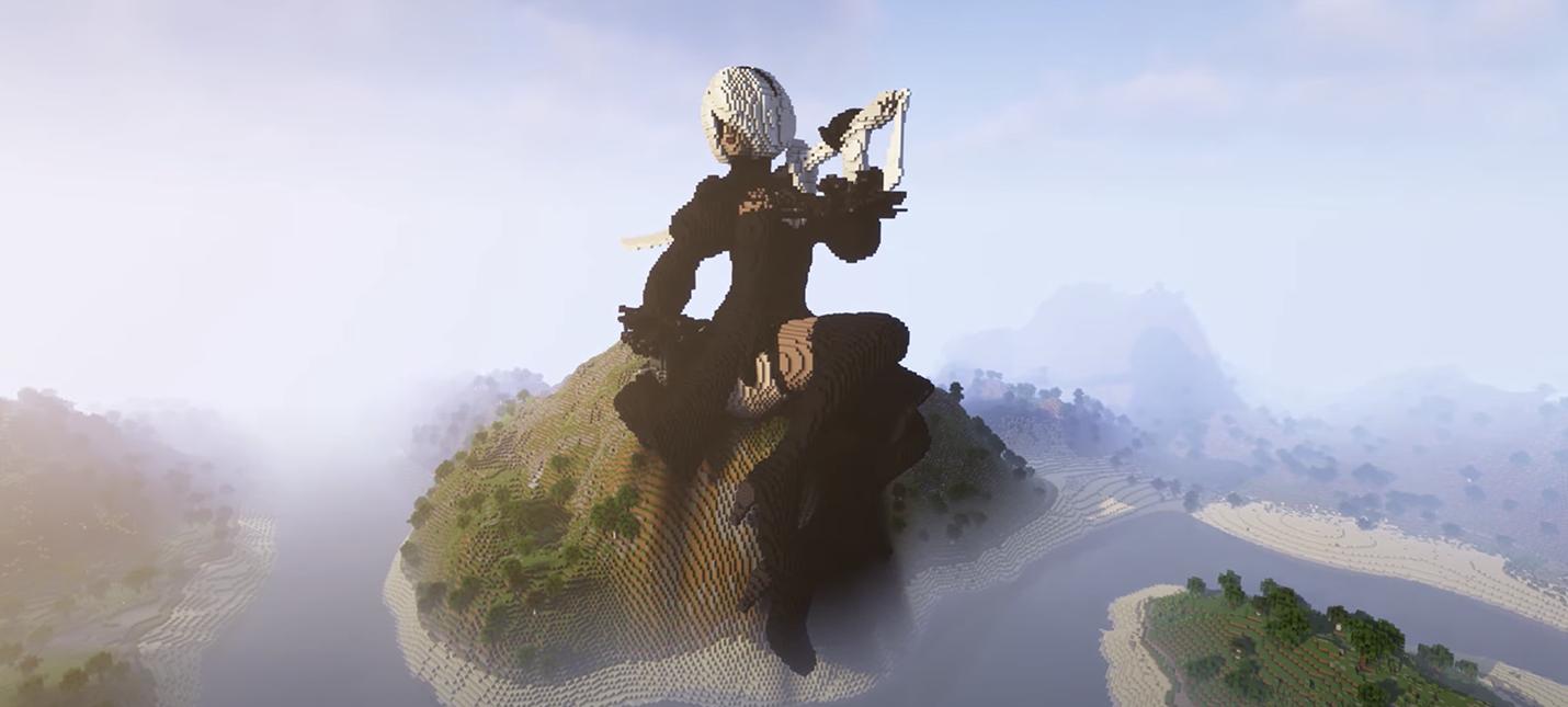 Поклонница Minecraft показала таймлапс строительства гигантской статуи 2B из Nier: Automata