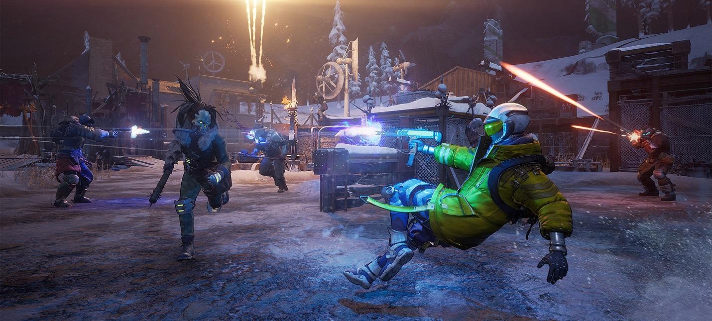Сражения с мобами и игроками в геймплее Scavengers