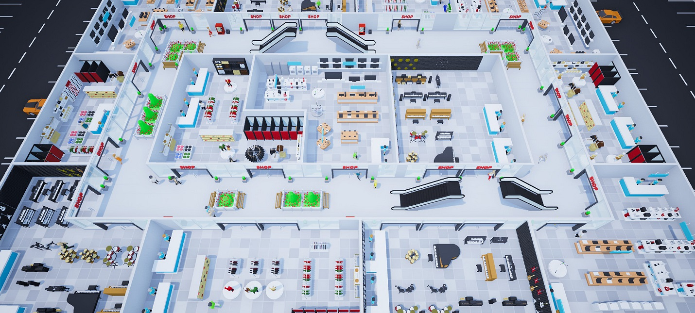 Управление и кастомизация торгового центра в первом трейлере стратегии Mall Craze