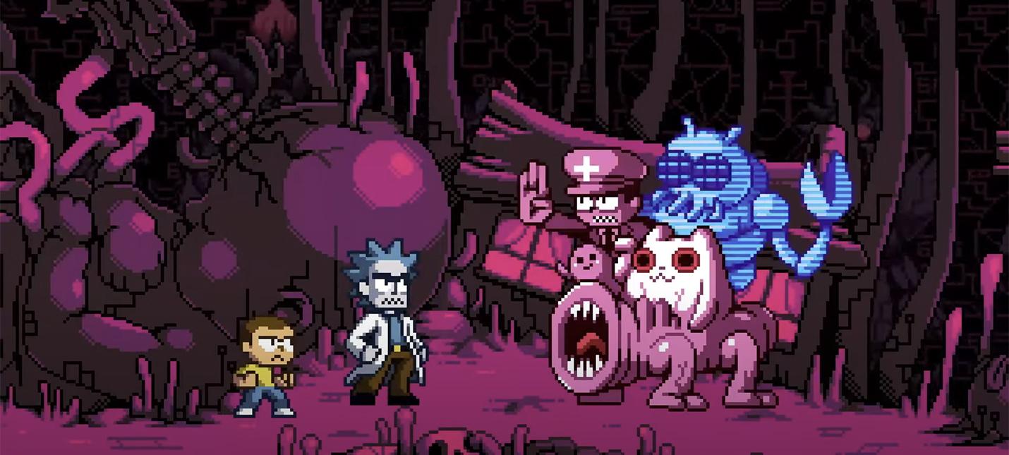 """Эпичная 17-минутная анимация """"Рика и Морти"""" в виде игры 90-ых с пиксельной графикой"""