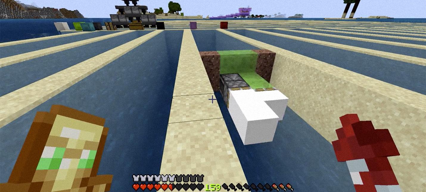 Игрок Minecraft  создал простую машину для осушения резервуаров