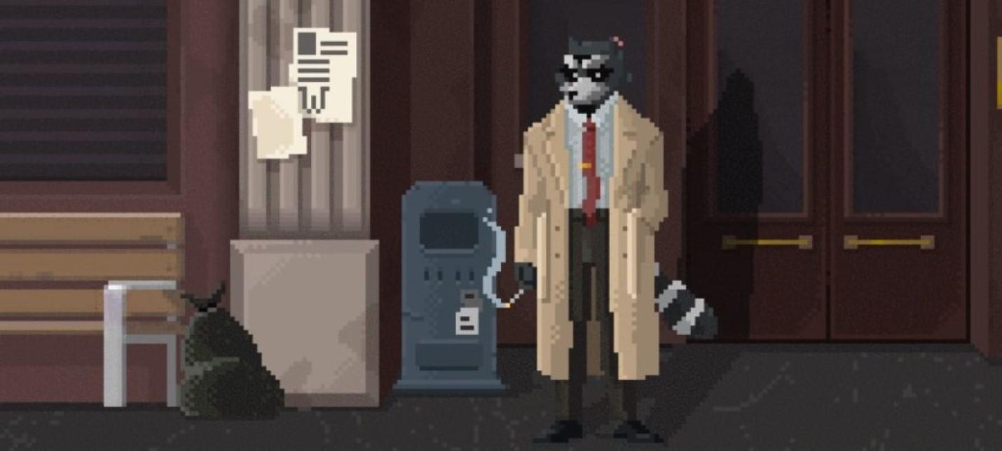 Бомж-заяц и пиксельный енот-детектив в геймплее Backbone