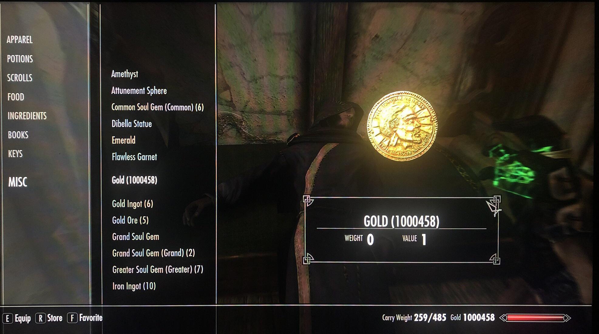 Игрок Skyrim потратил 100 часов, чтобы заработать 1 миллион золотых монет