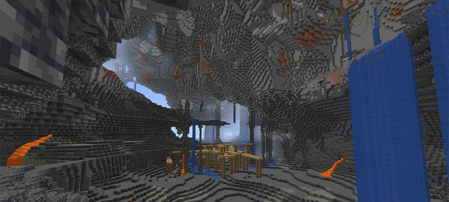 Игрок Minecraft показал, как спускаться в новые пещеры из версии 1.18 при помощи лиан