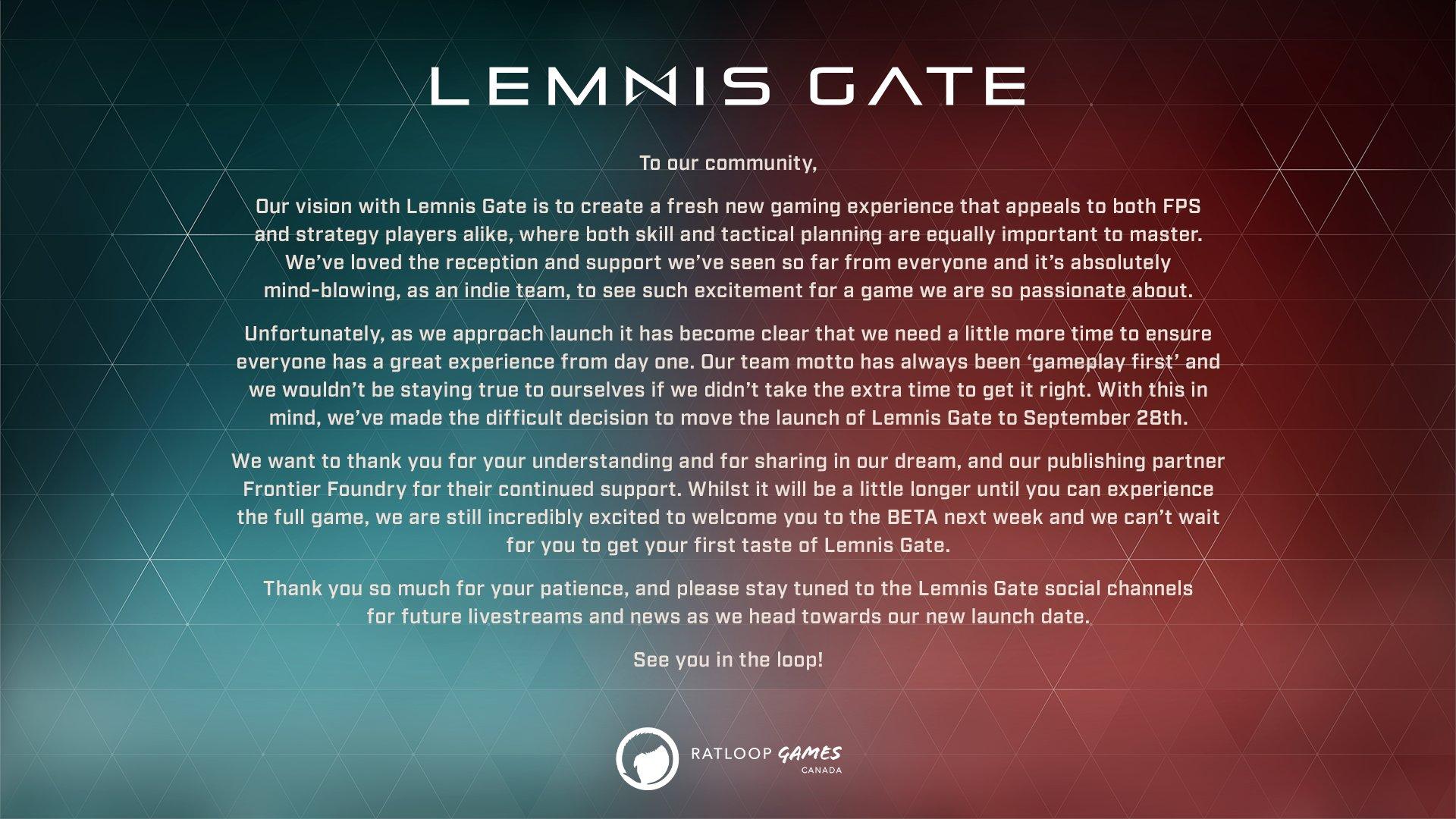 Релиз Lemnis Gate отложен на 28 сентября