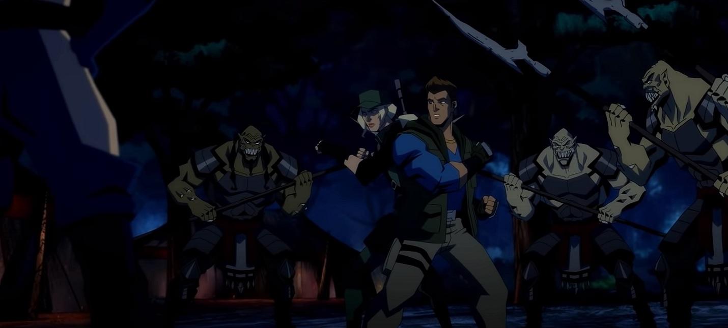 Драка в лесу в отрывке из мультфильма Mortal Kombat Legends Battle of the Realms