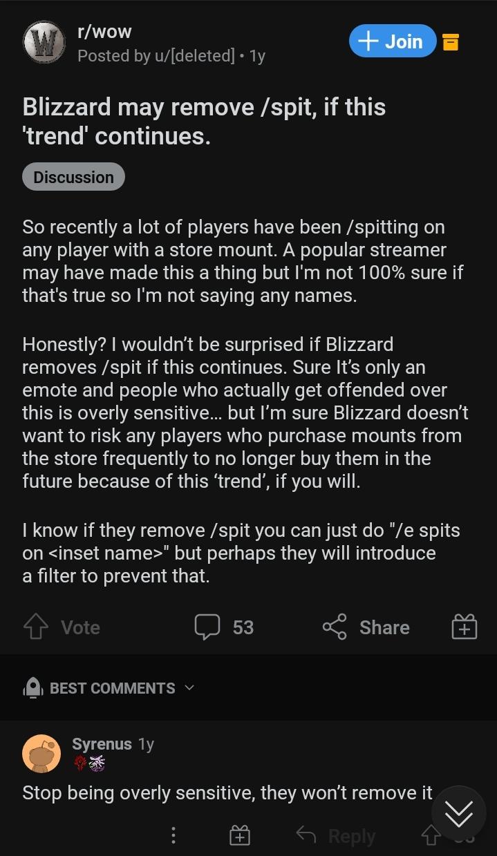 Blizzard планирует удалить из WoW Classic возможность плеваться, потому что это харассмент