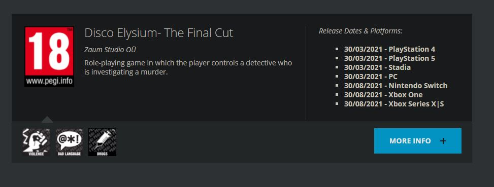 Disco Elysium: The Final Cut получила рейтинг на Switch и Xbox