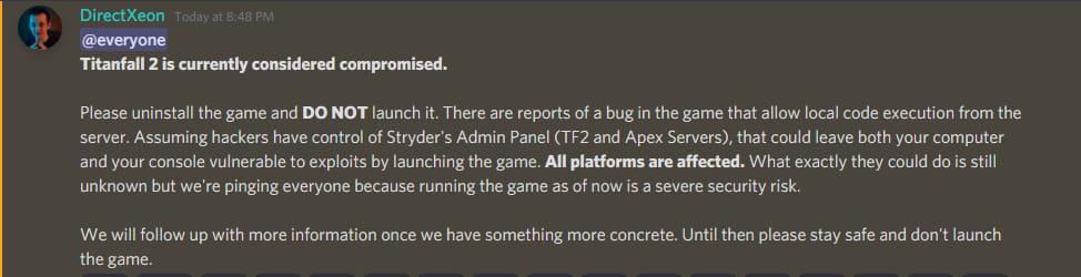 Геймеры перестали запускать Titanfall 2 из-за опасности удаленного взлома