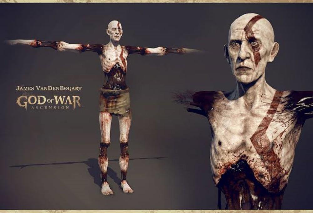 Истощенный и полумертвый Кратос на концепт-арте God of War: Ascension