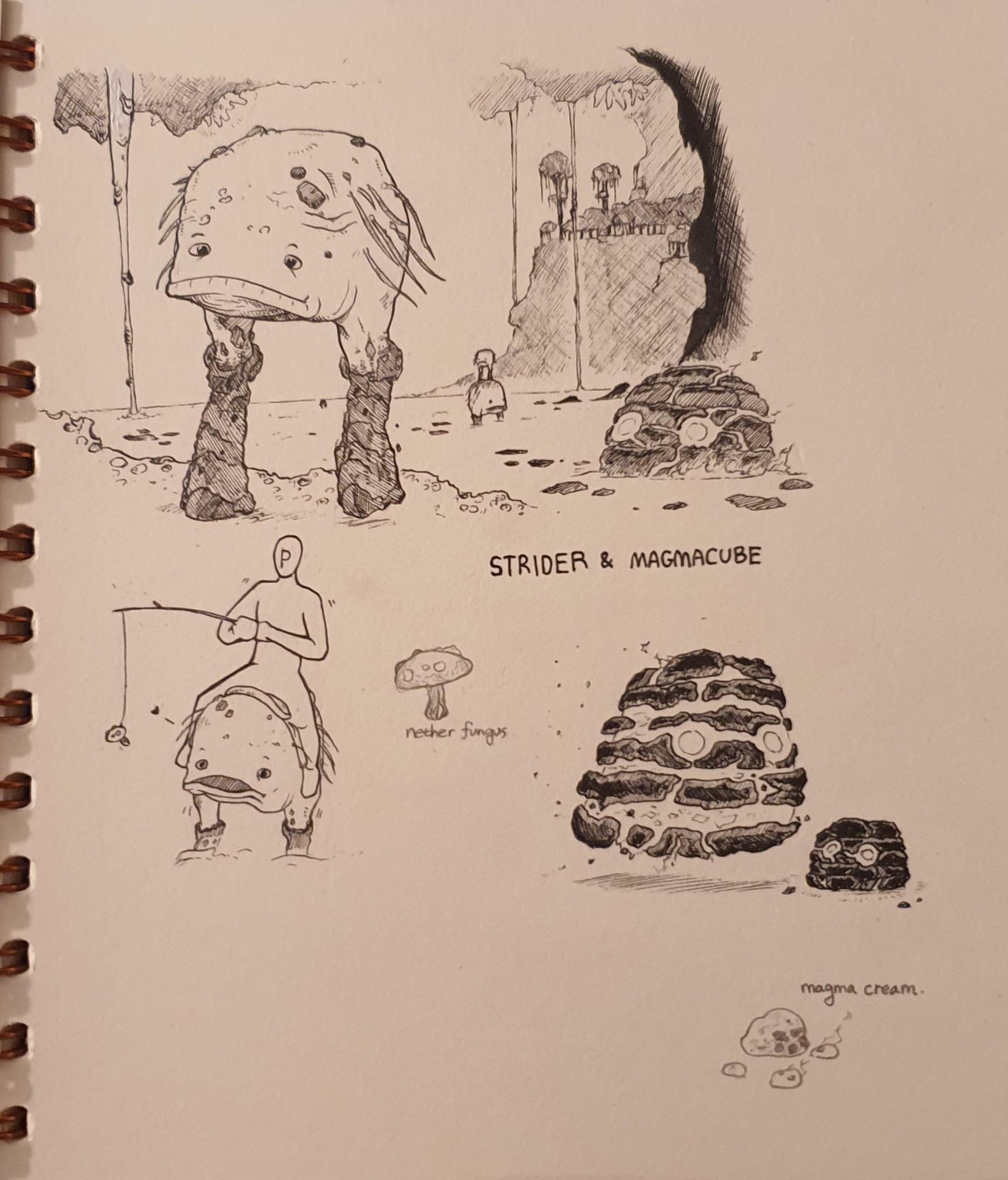 Игрок Minecraft изображает монстров и существ в виде стильных набросков