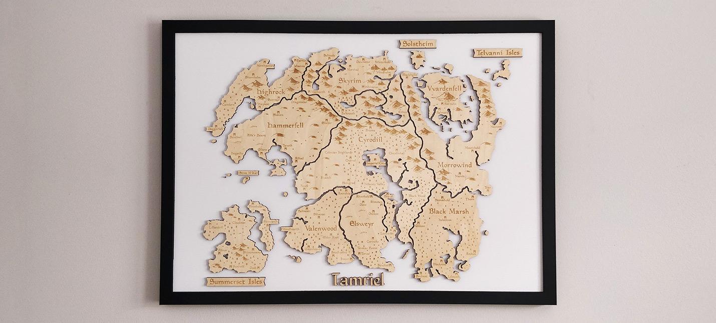 Фанат Elder Scrolls создал потрясающую карту Тамриэля из дерева
