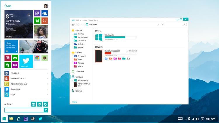 Сделать интерфейс как у windows 7
