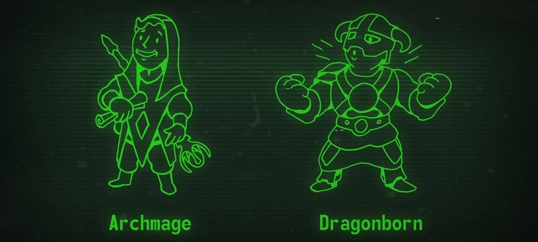 Персонажи серии TES в стиле Vaultboy из Fallout