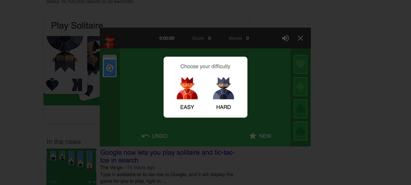Пасьянс и  Крестики-нолики прямо в Google