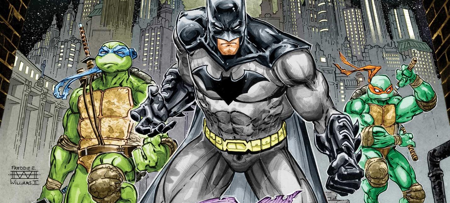 """Клан Фут, Бэтгерл и ученики Сплинтера в открывающей сцене мультфильма """"Бэтмен против Черепашек-Ниндзя"""""""