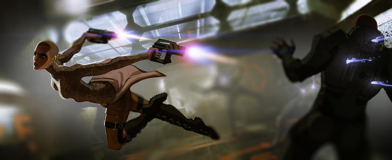 Бумажная Джек из Mass Effect в полный рост
