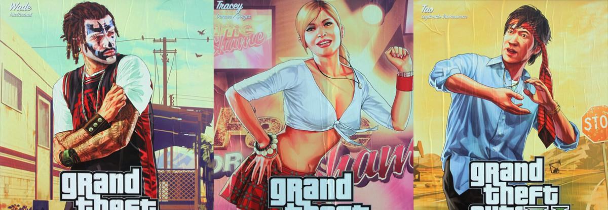 Уличные постеры GTA 5 с персонажами из игры