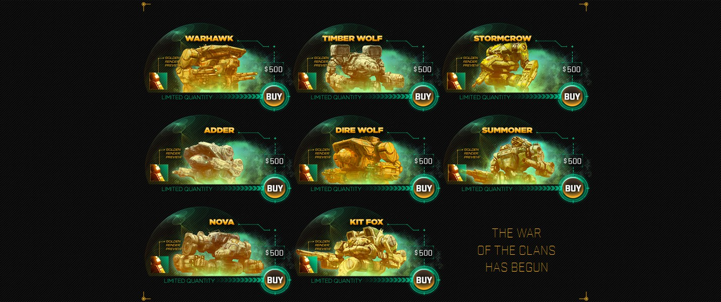 Золотые мехи по $500 в Mechwarrior Online